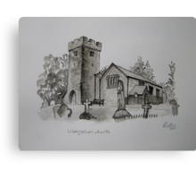 Pen and Ink-Llangathen Church-01 Canvas Print