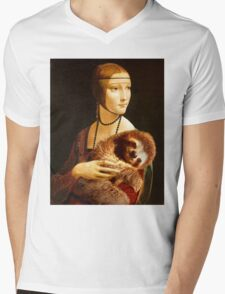 Lady with a Sloth Mens V-Neck T-Shirt