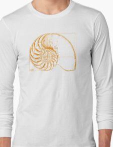 Fibonacci on a nautilus shell (orange) Long Sleeve T-Shirt