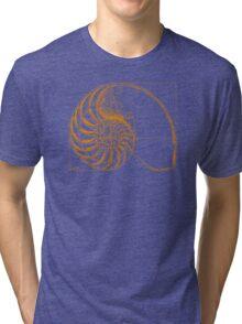 Fibonacci on a nautilus shell (orange) Tri-blend T-Shirt