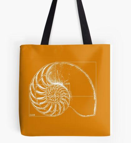 Fibonacci on a nautilus shell (orange) Tote Bag