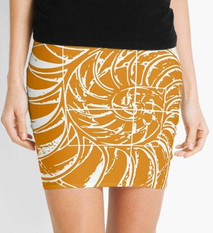 Fibonacci on a nautilus shell (orange) Mini Skirt