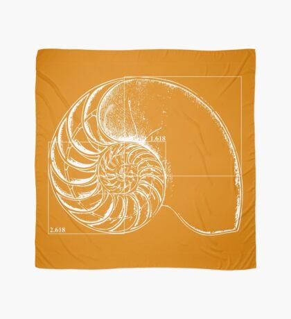 Fibonacci on a nautilus shell (orange) Scarf
