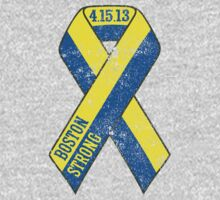 Boston Strong Ribbon Distressed Tee by DCVisualArts