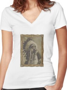 Indian Gas Mask Women's Fitted V-Neck T-Shirt