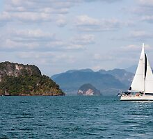 Yacht in Phang Nga Bay by Kevin Hellon