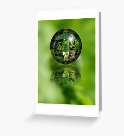 Green Flower Ball Greeting Card