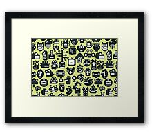 Robots faces green Framed Print