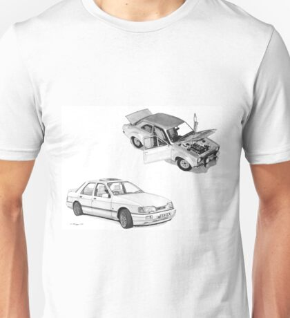 Ford Special RS Escort 1600 Mk 1and RS Cosworth Sierra Sapphire Unisex T-Shirt