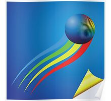 blue background and color sphere Poster