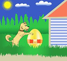 dog and easter egg by valeo5