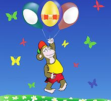 monkey and easter eggs balloons by valeo5