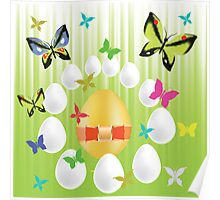 easter eggs and butterflies Poster