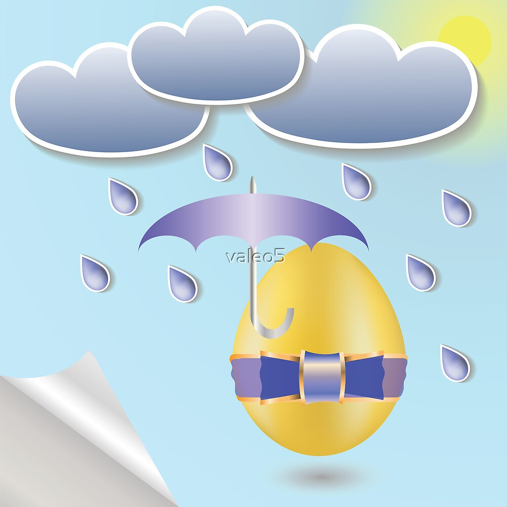 easter eggs and umbrella by valeo5