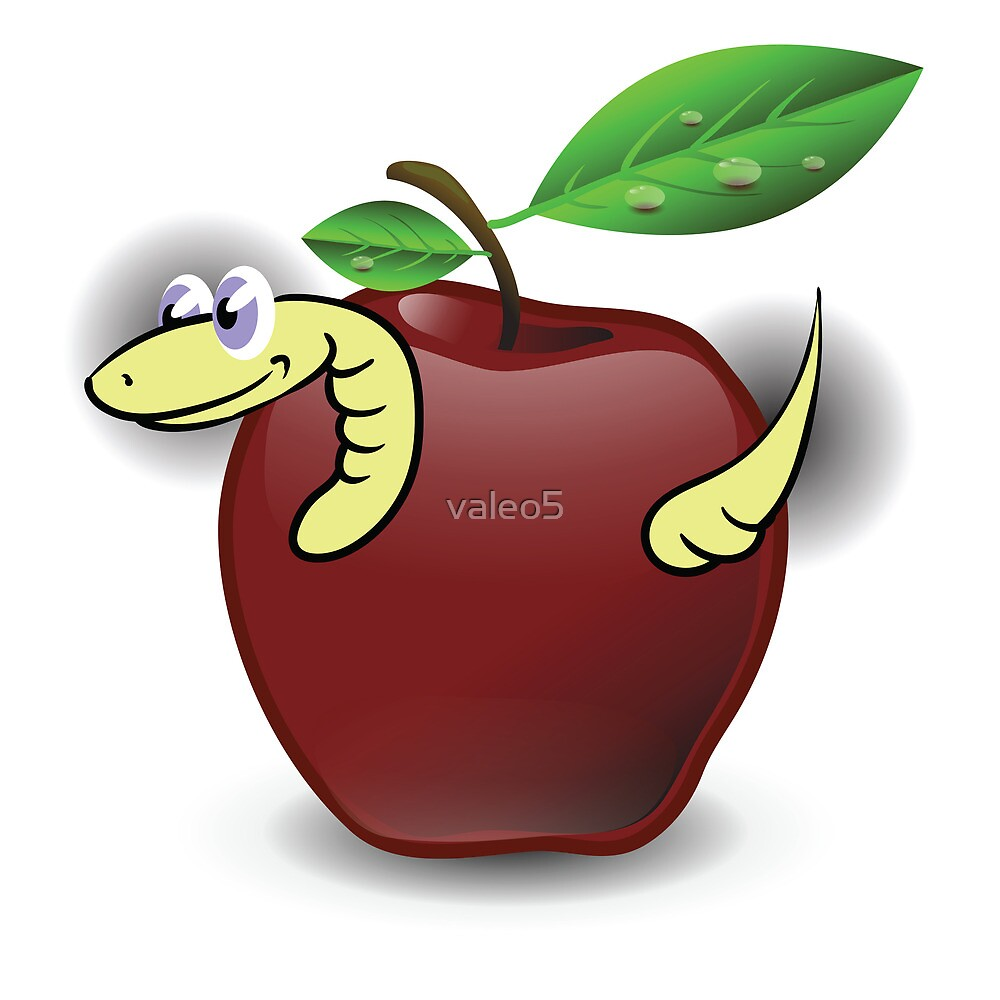 red apple and worm by valeo5