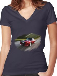 FORD SHELBY GT 500 Women's Fitted V-Neck T-Shirt