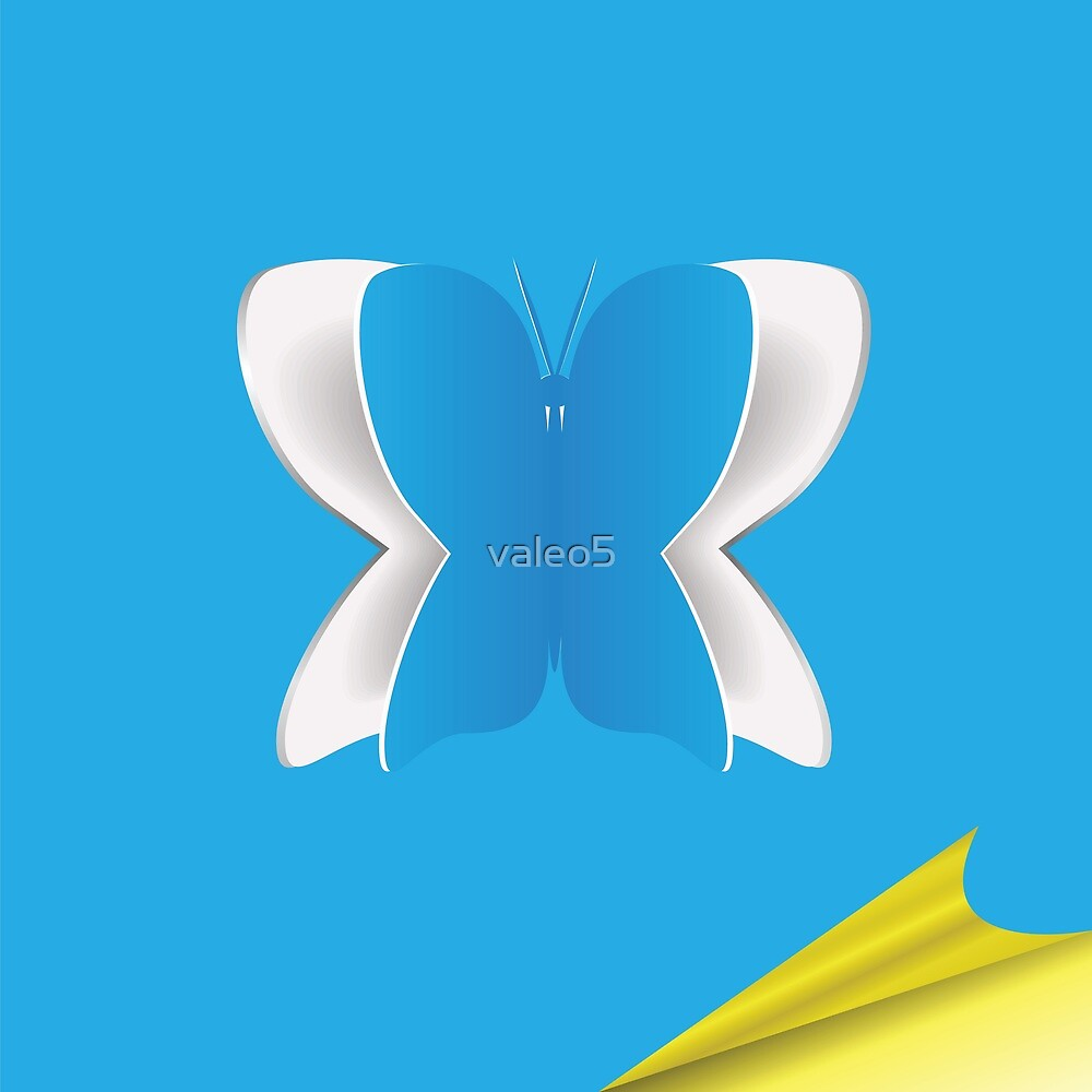 Blue paper background with butterfly  by valeo5