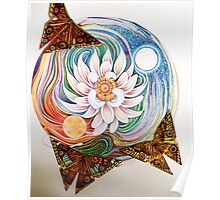 Lotus Mandala and Origami Butterflies Poster