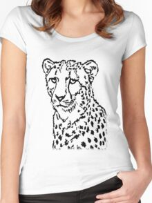 Cheetah's Stare Women's Fitted Scoop T-Shirt
