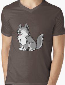 Husky Wuff Grey Mens V-Neck T-Shirt