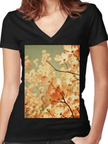 Vintage Pink Spring Flowers Women's Fitted V-Neck T-Shirt