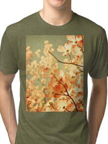 Vintage Pink Spring Flowers Tri-blend T-Shirt