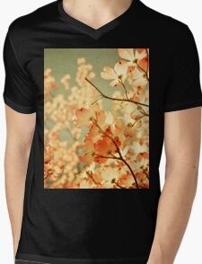 Vintage Pink Spring Flowers Mens V-Neck T-Shirt