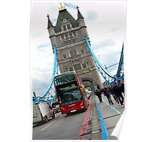 Tower bridge and double decker bus in London Poster