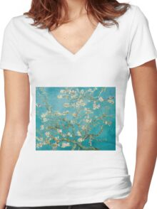 Vincent Van Gogh Almond Blossoms at St. Remy Women's Fitted V-Neck T-Shirt