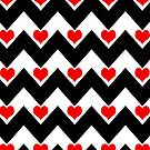 hearts&amp;chevron - red&amp;black by designsbyjenn