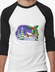 Christmas Scene Men's Baseball ¾ T-Shirt