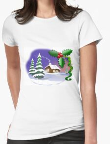 Christmas Scene Womens Fitted T-Shirt