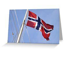 Statsraad Lehmkuhl flying the Norwegian flag Greeting Card
