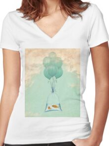 flight to freedom Women's Fitted V-Neck T-Shirt