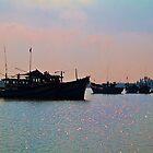 Vietnam. Hoi An River. Morning. Fishing Boats. by vadim19