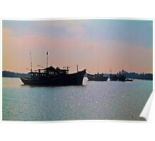 Vietnam. Hoi An River. Morning. Fishing Boats. Poster