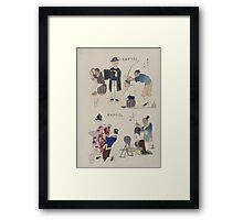 Humorous pictures showing various Chinese clothing and grooming habits 002 Framed Print