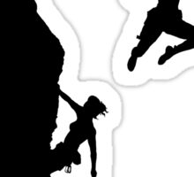 women rock climbing Sticker