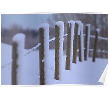 Snowy Fenceline Poster