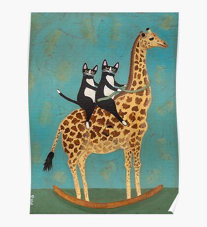 Cats on a Rocking Giraffe Poster