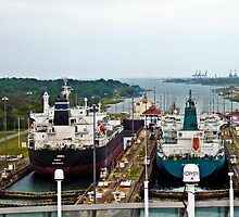 Two Ships in the Locks, Panama Canal by Kurt  Van Wagner