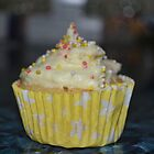 Yellow cased cupcake by Elinor Barnes