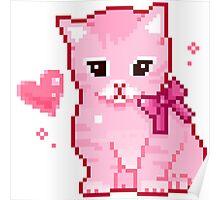 Pink Cat Pixel Design Poster