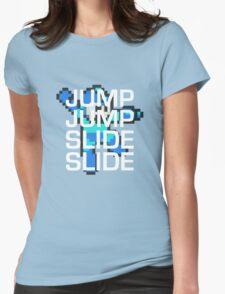 Mega Man: Jump Jump Slide Slide Womens Fitted T-Shirt