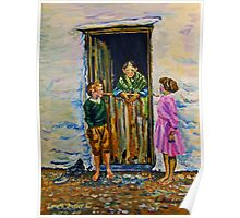 Connemara Grandmother at a Cottage Door with Grandchildren - Painted from a 1930's Lantern Slide by Branson De Cou. Courtesy of Special Collections, University of California, Santa Cruz Poster