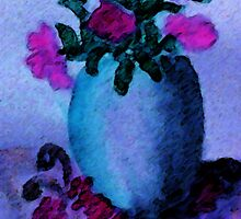Blue vase and flowers, watercolor by Anna  Lewis, blind artist