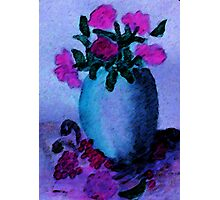 Blue vase and flowers, watercolor Photographic Print