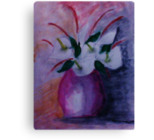 Red vase and flowers, watercolor Canvas Print