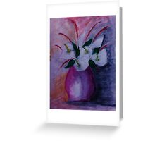Red vase and flowers, watercolor Greeting Card
