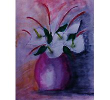 Red vase and flowers, watercolor Photographic Print